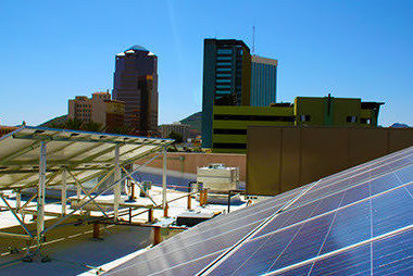Commercial Solar Path installation in downtown Tucson, AZ